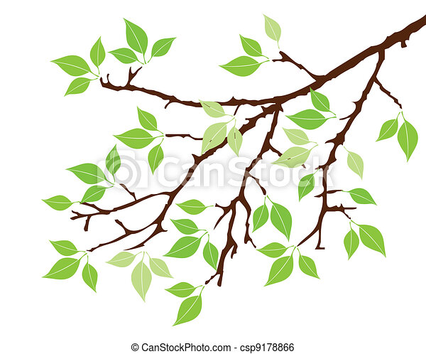 Clip Art Vector of tree branch - vector tree with green leaves ...