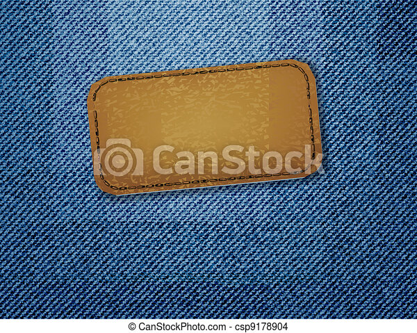 Leather label on jeans background.  - csp9178904