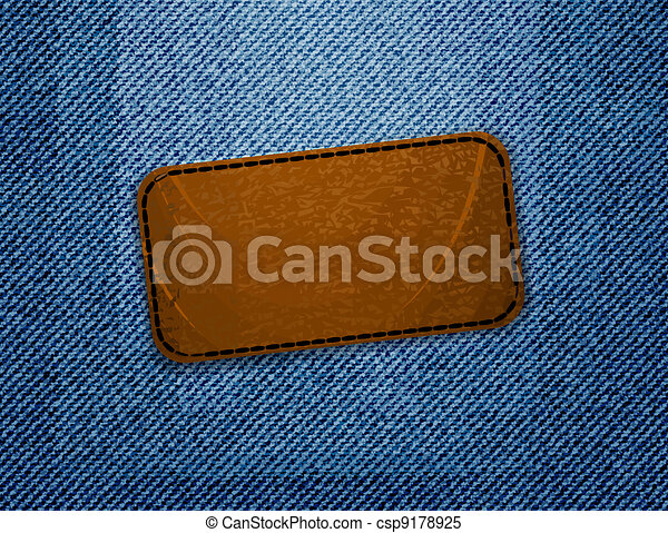 Leather label on jeans background.  - csp9178925