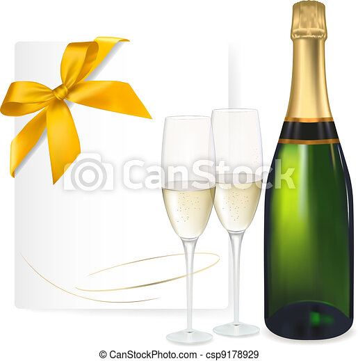 Two glasses of champagne and bottle - csp9178929