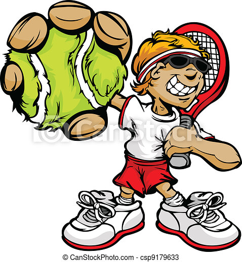 Kid Tennis Player Holding Racquet and Ball - csp9179633