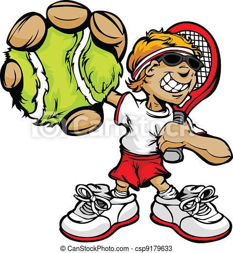 Vecteurs de raquette balle tennis joueur tenue gosse - Raquette dessin ...