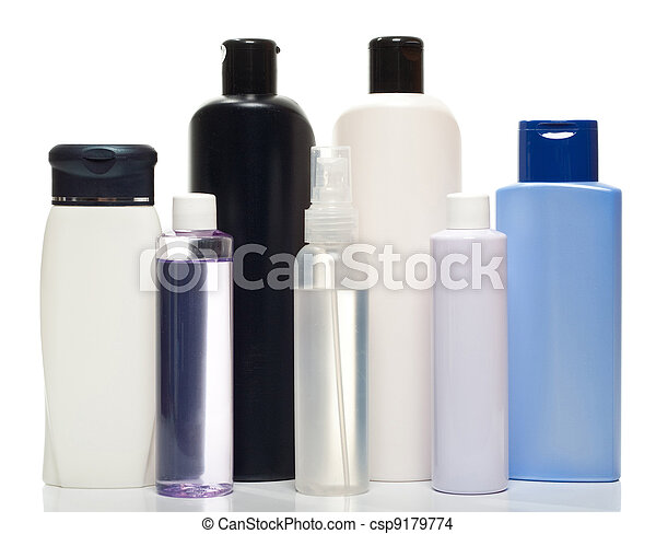 Collection of bottles of health and beauty products - csp9179774