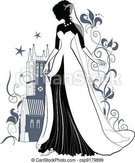 Ornate Bride  Silhouette - csp9179899