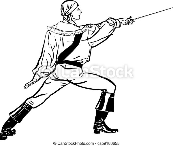 sketch a fencer with a sword lunges forward - csp9180655