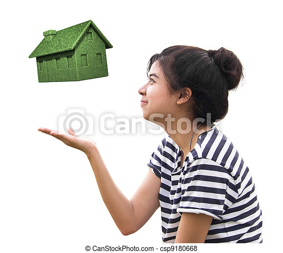 woman holding eco house, sustainable concept - csp9180668