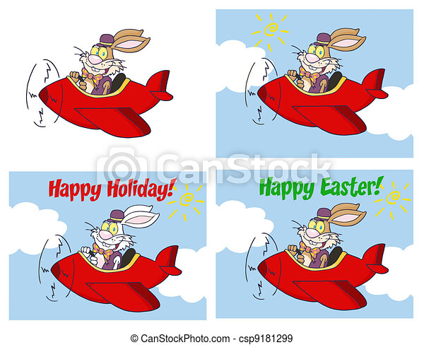Rabbit Flying With Plane  - csp9181299