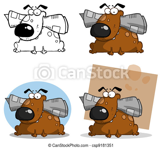 Dog Holds Newspaper In Mouth - csp9181351