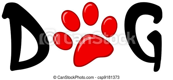 Red Paw Print In The Word Dog - csp9181373