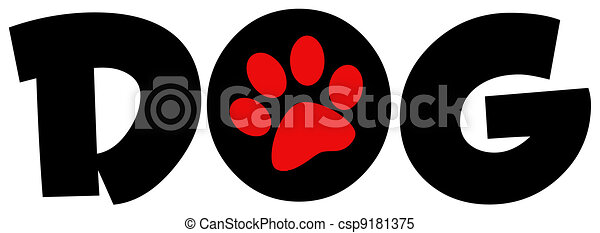 Dog Text With Circle Red Paw Print - csp9181375