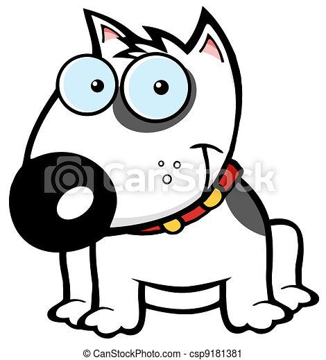 Happy White Bull Terrier Sitting  - csp9181381
