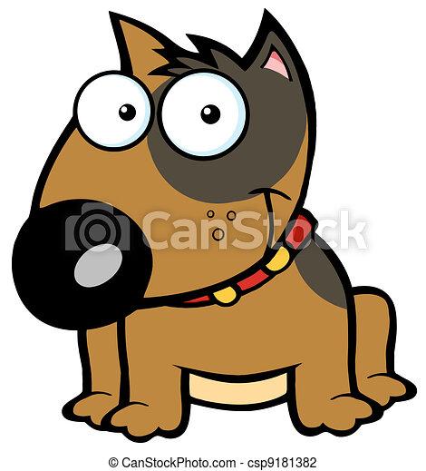 Happy Brown Bull Terrier Sitting - csp9181382