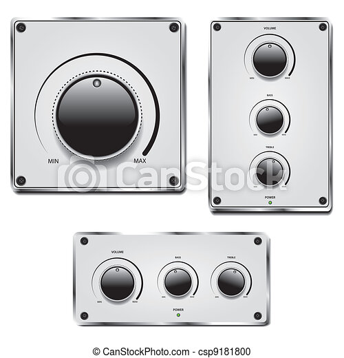 Fader and volume knob on metal plate isolated on white - csp9181800