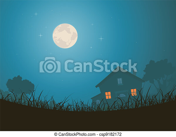 House In Moonlight Landscape - csp9182172