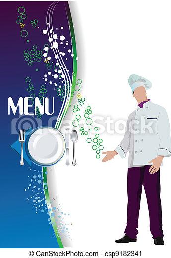 Restaurant (cafe) menu. Colored ve - csp9182341