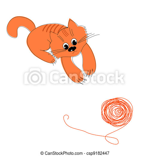 Happy red cat and a ball of wool - csp9182447