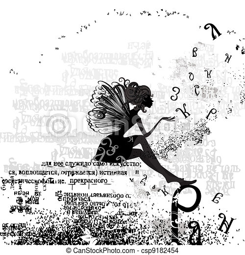 abstract design with a girl grunge text - csp9182454