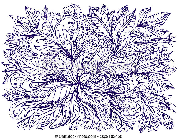 abstract foliage doodle - csp9182458