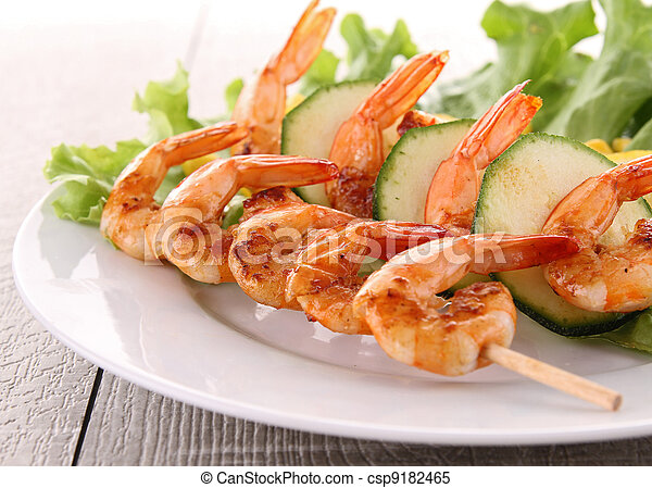 plate of grilled shrimp - csp9182465