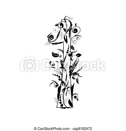 number alphabet, foliage - csp9182472