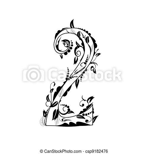 number alphabet, foliage - csp9182476