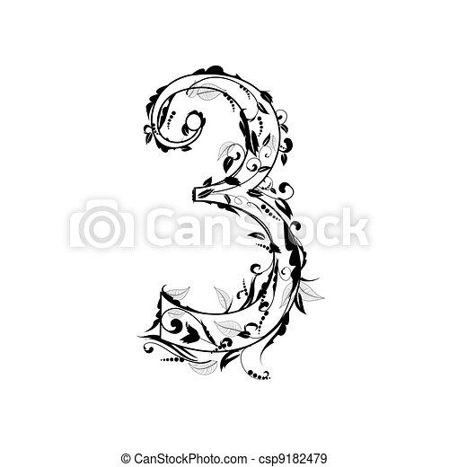 number alphabet, foliage - csp9182479