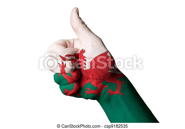 wales national flag thumb up gesture for excellence and achievem - csp9182535
