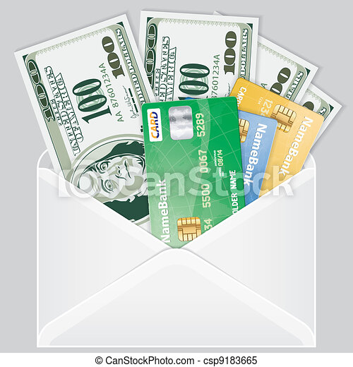 Open the Envelope with Dollar Bills - csp9183665
