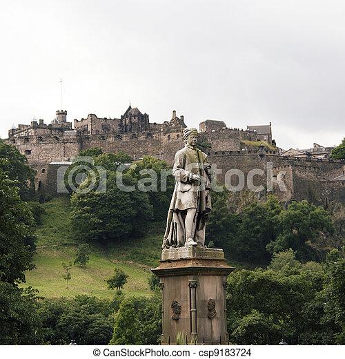 Allan Ramsay Statue and Edinburgh Castle - csp9183724