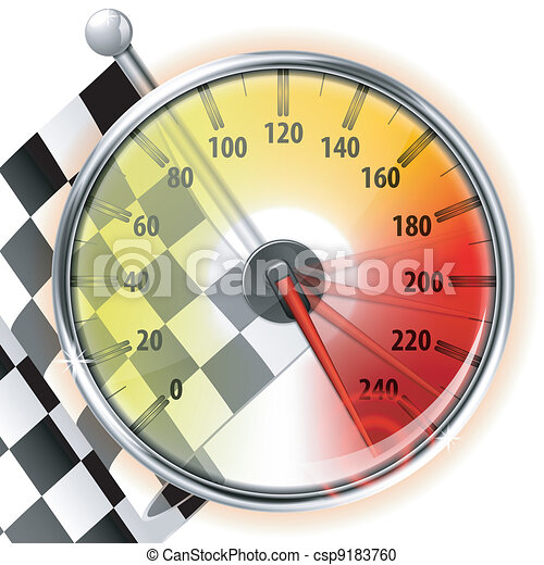 Speedometer with Flag - csp9183760