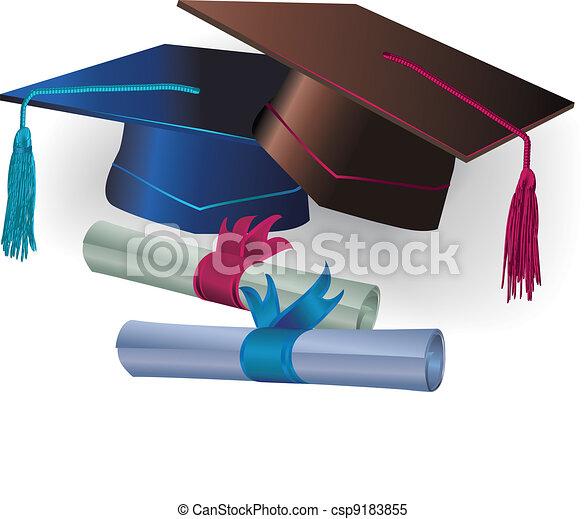 Graduation mortar with certificate - csp9183855