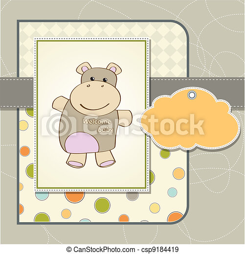 baby shower card with hippo - csp9184419