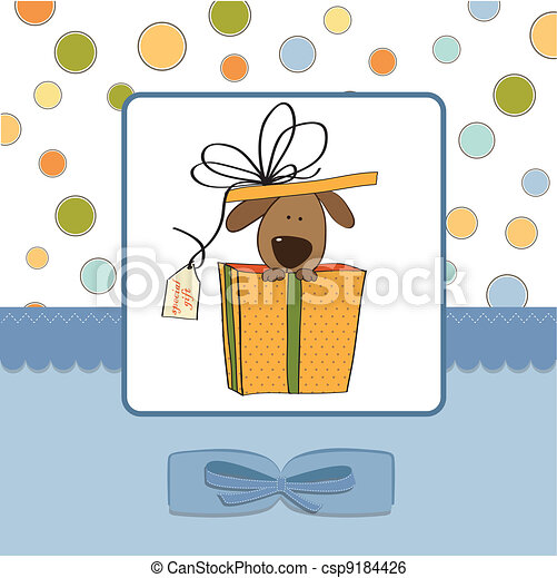 funny birthday card with dog - csp9184426