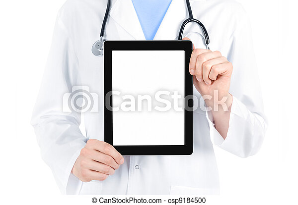 Doctor Showing Blank Digital Tablet PC - csp9184500