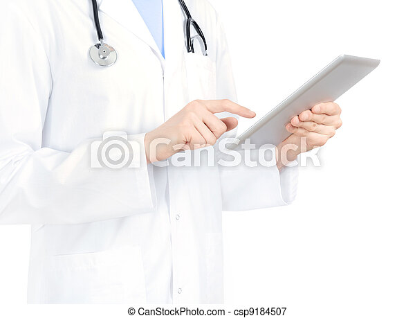 Doctor Touching On Digital Tablet PC - csp9184507