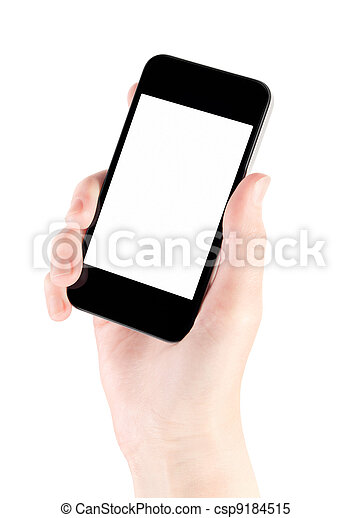 Mobile Smart Phone In Hand Isolated - csp9184515