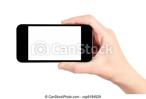 Mobile Smart Phone In Hand Isolated - csp9184529