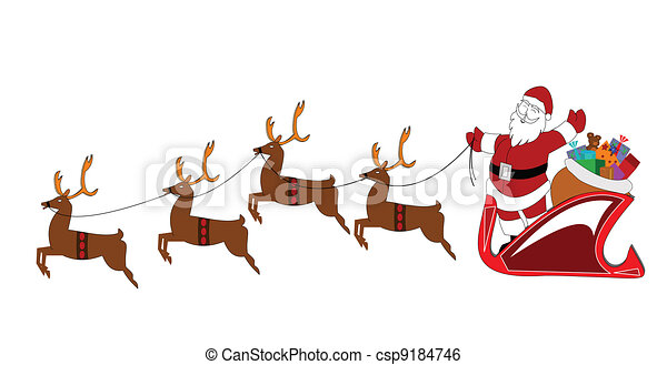 santa with reindeer - csp9184746