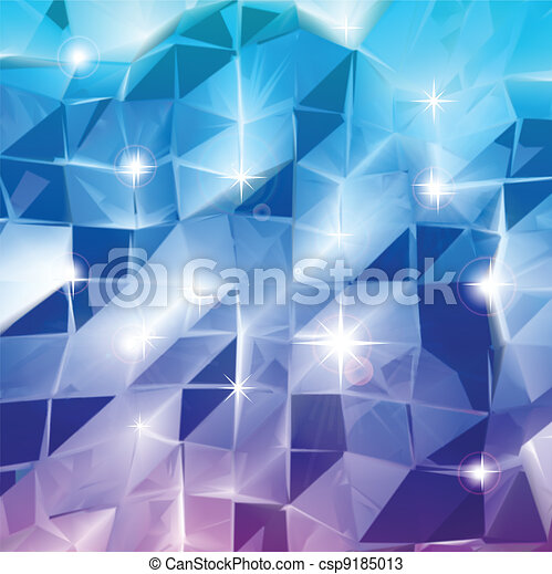 Blue triangles. Vector shine background - csp9185013
