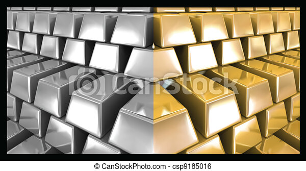 Clip Art Vector of Gold and silver bars. Vector ...