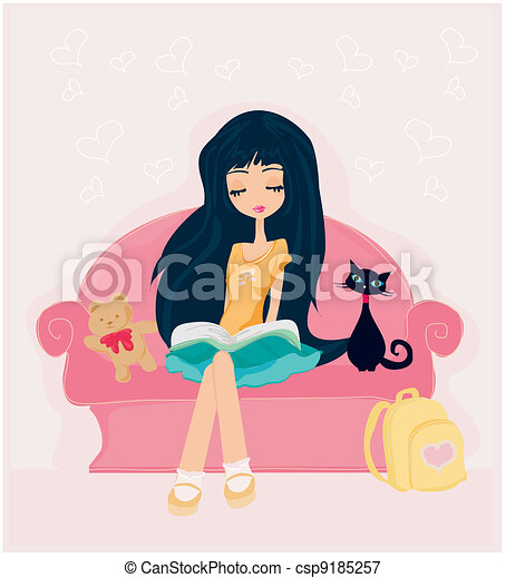Teen girl Reading A Book - csp9185257