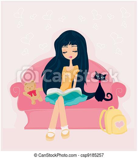 Teen girl Reading A Book  - csp9185257