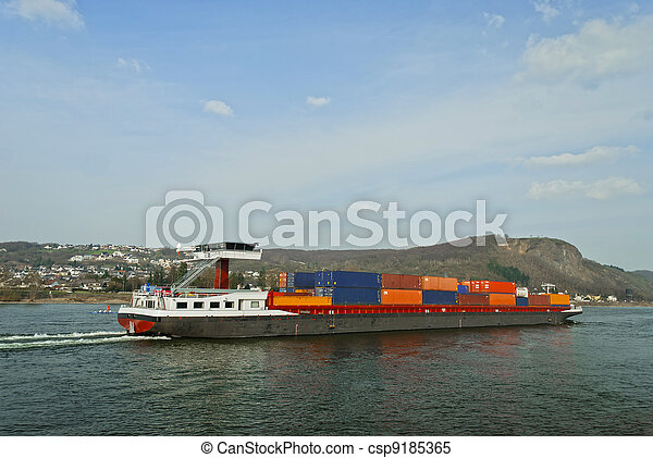 Cargo ship transporting large containers