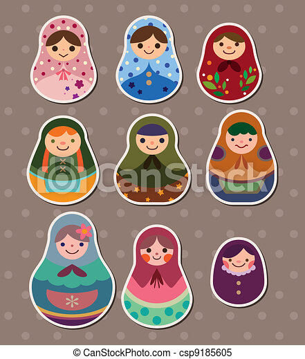 Russian dolls stickers - csp9185605