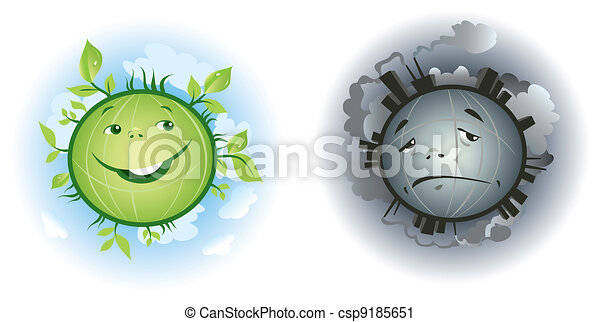 Pure and polluted Earth cartoons - csp9185651