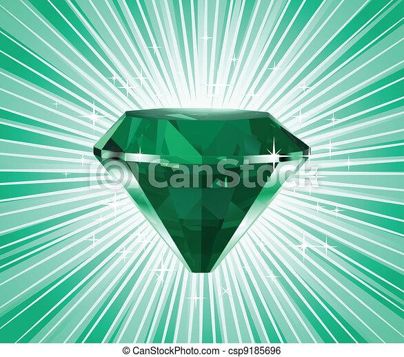 Diamond on a green background. Vector - csp9185696
