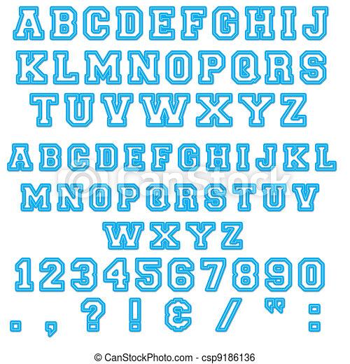 blue block alphabet letters csp9186136