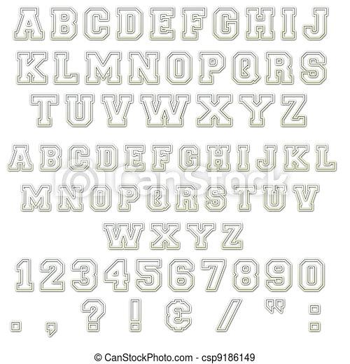 Blue & White Block Alphabet Letters - csp9186149