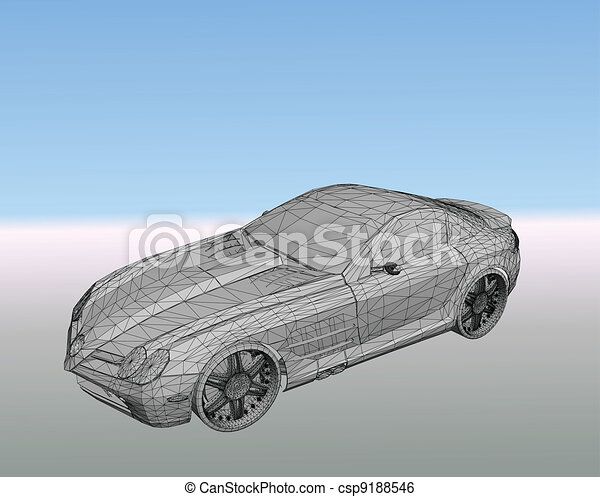 Car with grid. Vector - csp9188546
