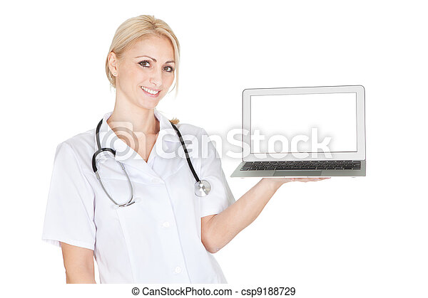 Smiling medical doctor woman presenting laptop - csp9188729